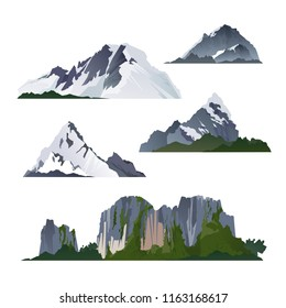 Vector illustration of camping landscapes travel climbing or hiking, set icons ice mountains snow peaks and nature elements isolated on white background