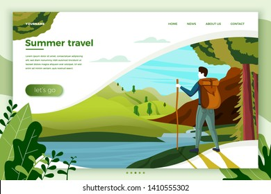 Vector illustration - camping man with mountains, river, trees on background. Banner, site, poster template with place for your text.