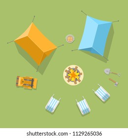 Vector illustration. Camping with a tents  and campfire. Top view.