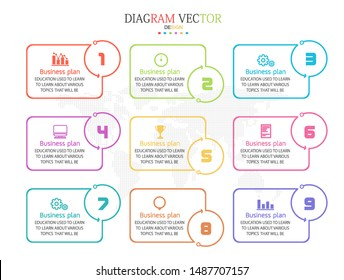 vector illustration Can be used for process, presentations, layout, banner,info graph There are 1-9 steps or layers.