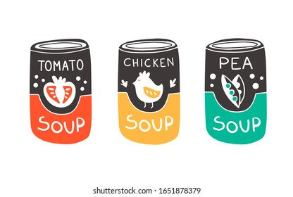 Vector illustration of can with soup in doodle style. Tomato soup, chicken soup and pea soup. Cute kawaii art with yellow, red and green color for concept and design