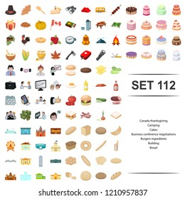 Vector illustration of canada, thanksgiving, camping, cake, business conference negotiation burger ingredient building,bread icon set.