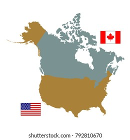 vector illustration of Canada and USA map and flag