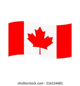 Vector illustration canada waving flag flat icon.