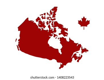 Vector Illustration of Canadian Map and Leaf.