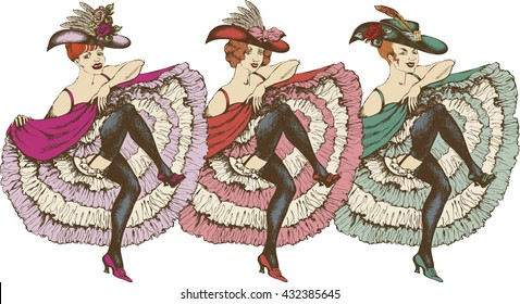 Vector illustration of a cancan dancer