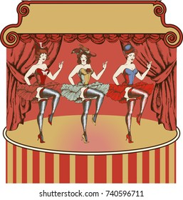 Vector illustration of a cancan dancer. Vector illustration. Engraved style