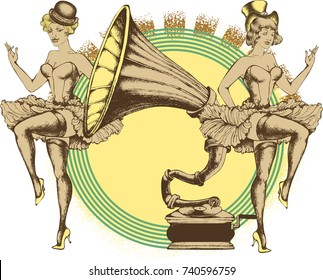 Vector illustration of a cancan dancer and grammy