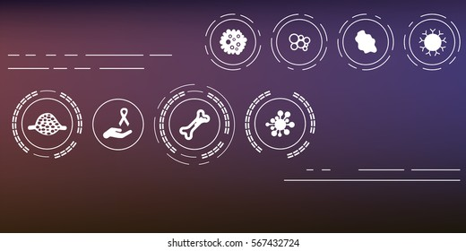 vector illustration of cancer symbols banner on abstract blurry violet background