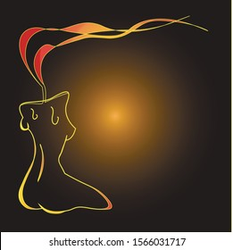 vector illustration candle. banner for advertising perfumes. feeling female youth and old age. Silhouettes of sexy women in the traditional style of the indigenous tribes and ancient peoples of Africa
