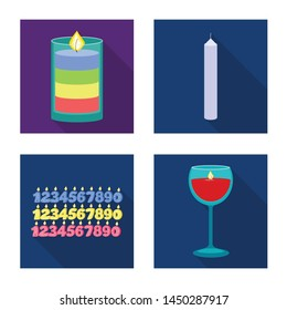 Vector illustration of candlelight and decoration sign. Collection of candlelight and flame stock vector illustration.