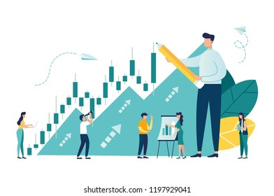 Vector illustration, Candlestick chart of the stock market, move up motivation, The way to achieve the goal