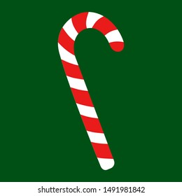 Vector illustration of candy cane sweet stick. Christmas or New Year festive flat icon. White cane with red stripes isolated on green background. Gift, greeting card print template.