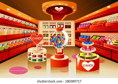 A vector illustration of candy section in grocery store