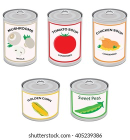 Vector illustration canned food set, collection. Tomato soup, chicken soup, sweet peas, golden corn and mushrooms.  Metal tin can