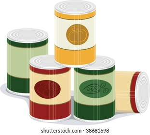 vector illustration of canned goods