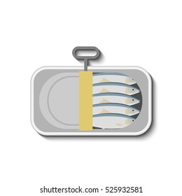 vector illustration of canned sardines in flat style isolated on white background.