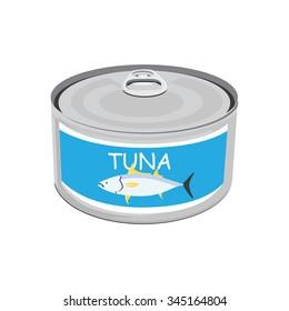 Vector illustration canned tuna fish icon. Can of tuna with label tuna fish. Flat design