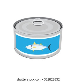 Vector illustration canned tuna fish icon. Can of tuna with label tuna fish. Flat design