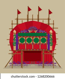Vector illustration of a Cantonese Opera bamboo theatre