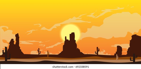 vector illustration of canyon with rocks and sunset. desert , cactuses silhouettes and clouds of dust