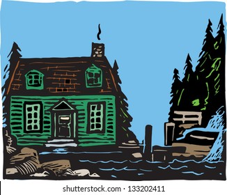 Vector illustration of cape cottage
