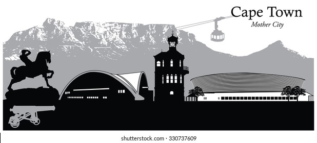 Vector illustration of Cape Town, South Africa
