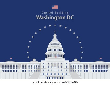 Vector illustration Capitol Building in Washington DC