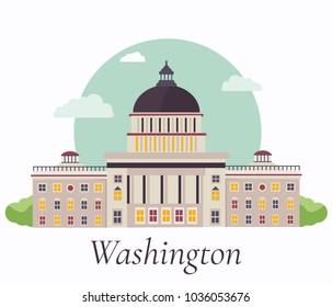 Vector illustration of Capitol in Washington.