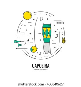 Vector illustration with Capoeira musical instruments in trendy linear style
