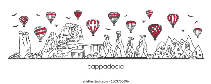 Vector illustration Cappadocia, Turkey. Hand drawn line doodle turkish symbols. Horizontal panoramic scene for banner or print design. Simple minimalistic style with black outline and red elements.