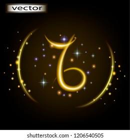 Vector illustration of Capricorn horoscope, astrological prediction prediction by zodiac sign.