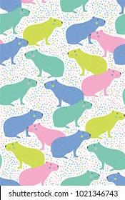 Vector illustration of capybara. Seamless pattern of hand draw capybara. South america's capybara pattern for fabric, wallpaper, for kids goods, textiles. South America animal. Dots white backround