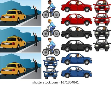 Vector illustration of car and bicycle set.