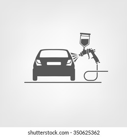 Vector illustration of a car body repair. Automotive concept useful for a pictogram, icon, logotype or signboard design.Transportation collection in gray color