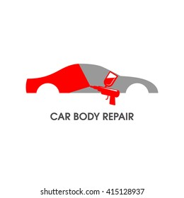 Vector illustration of a car body repair. Automotive concept useful for a pictogram, icon, logotype or signboard design.Transportation collection in gray and red color.