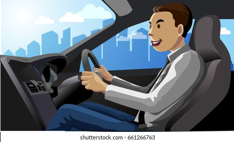 Vector illustration, A car driver smiles