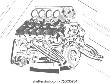 Vector illustration abstract car engine vector de stock716125894 vector illustration of car engine malvernweather Images