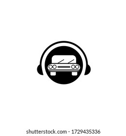Vector illustration of car with headphone isolated on white background perfect for online taxi service, car garage, service station or car repair shop customer service logo