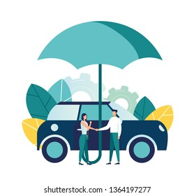 Vector illustration, car insurance, umbrella covering