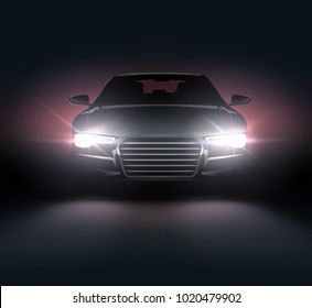 Vector illustration of car lights realistic composition of night scenery and stylish automobile silhouette with white headlights with red lighting behind
