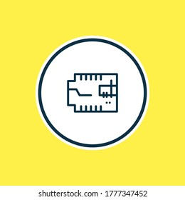 Vector illustration of car microcircuit icon line. Beautiful car element also can be used as microprocessor icon element.