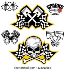 Vector illustration of car racing symbols