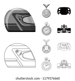 Vector illustration of car and rally sign. Set of car and race stock symbol for web.