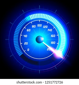 Vector Illustration Car speedometer dashboard icon. Speed meter fast race technology design measurement panel. Pushing to limit with cool engery glow effects.