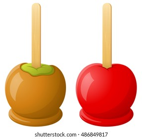 Vector illustration of a caramel apple and a red candy apple.