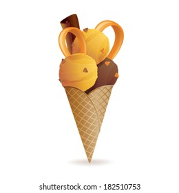 Vector illustration of caramel and chocolate ice cream cone, isolated on white background
