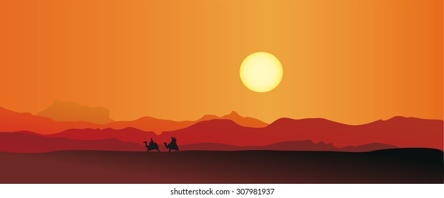 Vector illustration of caravan in a desert