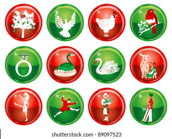 Vector Illustration Card of the 12 days of Christmas buttons.