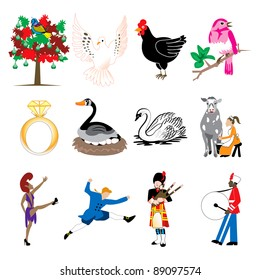 Vector Illustration Card of the 12 days of Christmas icons in full color.